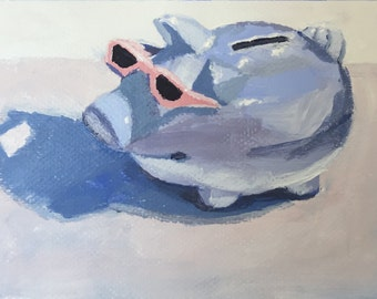 "Cool Pig, Still Life, Acrylic on Paper, Australian Artist, 5x7"""