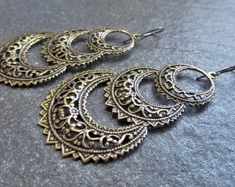 Antique Gold Ox Brass Filigree Triple Crescent Earrings Hypoallergenic Titanium, Niobium OR Gold Vermeil Ear Wires - Tribal - Boho - Gypsy