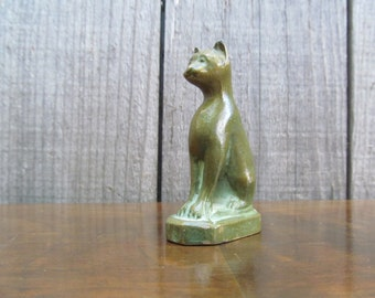 Mid Century Mini Brass Egyptian Cat