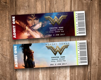 Wonder Woman 2017 Collectible Movie Tickets *Personalized Digital Printable*
