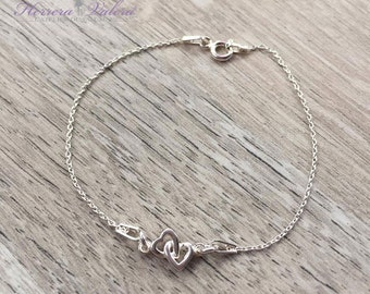 Silver minimalist bracelet 925 and hearts