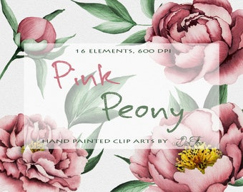 Watercolor Peony Clipart Pink Peonies Flower Clip Art Leaf Leaves Illustration Vector Wedding Invitation Paper Pastel Flowers Rose Peonies