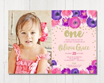 Girl first birthday invitation, girl 1st birthday invite, blush pink and gold glitter purple floral watercolor digital Printable Invitation