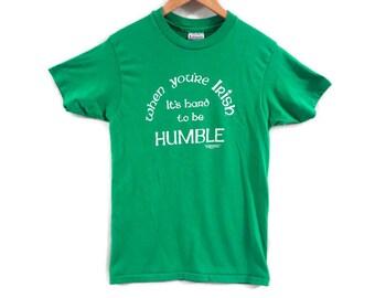 Vintage 80s Irish Pride Tee - Small - 50/50 Thin T Shirt - Vintage Tee Small - St Patricks Day - Ireland - Green Tee - Faded - Hanes -
