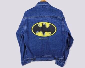 VTG 80s Batman Jean Jacket - Medium - Waves - Batman Denim Jacket - DC Comics - Gotham - Suicide Squad - The Joker - Harley Quinn - Comix -