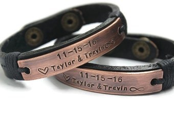 Mens Personalize Bracelet, Couple Bracelets Engraved Bracelet, Black Couples bracelet, Copper Cuff,  Wedding Date Bracelet