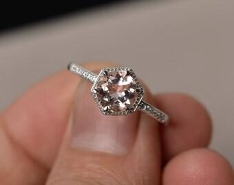 Natural Morganite Ring Engagement Ring Pink Gemstone Ring Round Cut