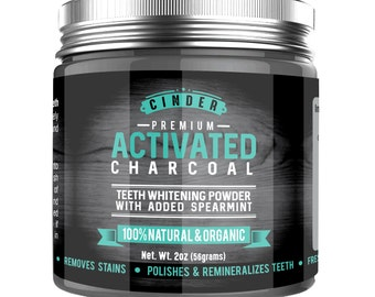 Natural Teeth Whitening Powder with Premium Activated Charcoal & added Spearmint (4oz jar)