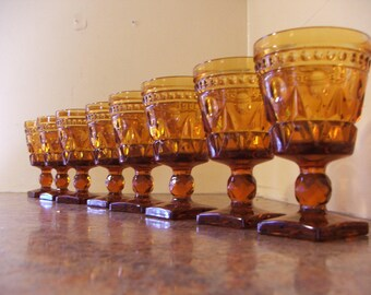 Vintage Set of Eight (8) Vintage 1960s Indiana Glass / Tiffin Amber Colony Park Lane Wine Goblets