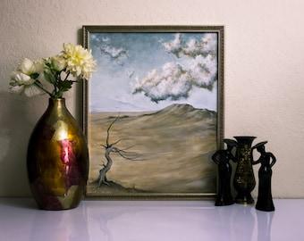 Original Painting, Canvas Art, Surrealism, Landscape Art, Original Artwork, Home Decor, Flower Clouds Tree Dali