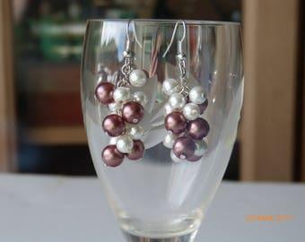 Light Brown & White Pearl Cluster Earrings/ Handmade Pearl Earrings