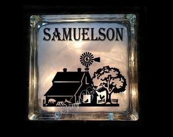 Personalized Farm Scene, Custom Country Scene, Last Name Light, Barn Scene Lighted Glass Block - Windmill Light - GB-1077