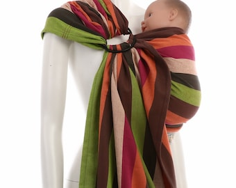 Ring Sling - Daiesu Bougainvillea Red - Woven Baby Wrap - Ring Sling Baby Carrier, Infant to Toddler, travel carrier, newborn, new mom gift