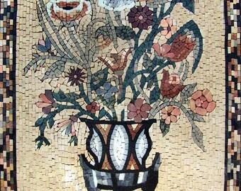 Mosaic Wall Art - Black Hibiscus
