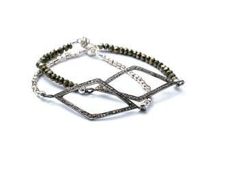 Diamond Pave Bracelet, Diamond Beaded Bracelet, ID Bracelet, Pyrite Sterling Silver Bracelet