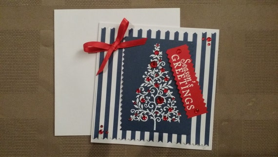 Red White Blue Christmas Card