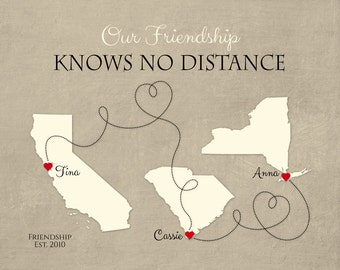 Long Distance Gift for Friends, Moving Away Gift for BFF, Birthday Present for Friends, Distance Quote, Friendship Quote, Any Three Places