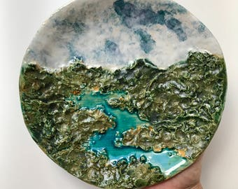 One of a kind handmade sculptural plate or platter with landscape of mountains and river