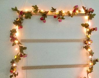 Pink and dark pink rose bud 40 led lights garland - 40 led fairy lights garland - Flower string lights
