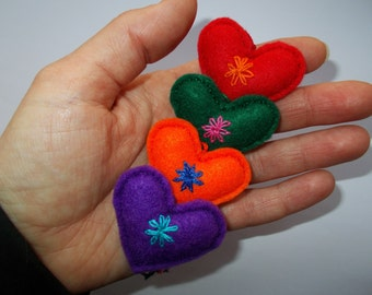 Set of 4 - Valentine's Day Felt Heart,Embroidered Heart,Wedding Decor,Bag Charm,Key Chain,Mini Pincushion,Colorful Love Hearts, Gift for Her