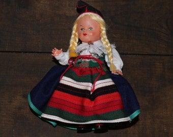 Vintage Sweden Souvenir Doll National Costume Ingeborg Rudolph Rattvik Region Traditional Folk Dress