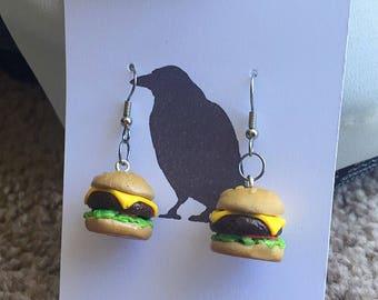Cheeseburger Earrings Hamburger Earrings Polymer Clay Earrings Food Earrings