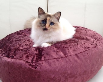 luxury crushed velvet, pet bed,cat bed, dog bed, luxury deep filled hand made
