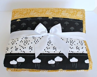 Patchwork Baby Quilt~ Homemade Baby Quilt~ Black & White Nursery~ Baby Boy Quilt~ Cloud Nursery~Gender Neutral Nursery~Baby Quilts For Sale