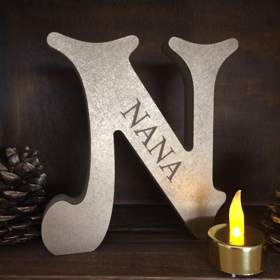 Wooden vintage letter nana gift painted gold christmas for Standing wood letters to paint