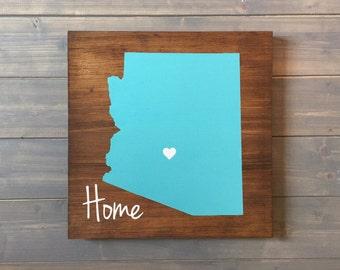 Pick Colors, Arizona Wood Sign, Custom Arizona State Sign, Arizona plaque, Hand Painted, Arizona decor, Arizona sign, State guest book