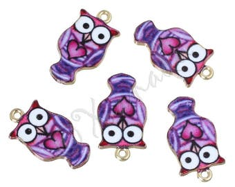 Purple Owl Charms - 2/5/10 Wholesale Gold Plated Enamel Pendants C2577