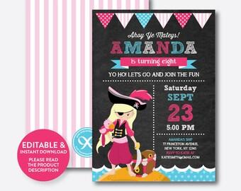 Instant Download, Editable Pirate Birthday Invitation, Pirate Invitation, Pirate Party Invitation, Pirate Girl Invite, Chalkboard (CKB.45B)