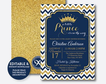 Instant Download, Editable Prince Baby Shower Invitation, Prince Invitation, Boy Baby Shower, Gold Glitter Invitation, Navy Chevron (GBS.04)