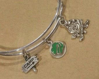 Bangle bracelet - Scout troop - camp - camping - summer camp - campfire - troop - scouts - girls - children's jewelry  -