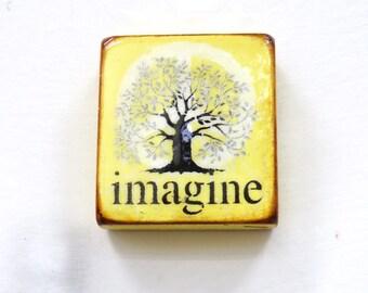 "Soft Sunshine Yellow Tree of Life- ""Imagine"" - Silver/yellow, world peace, Lennon, love,h. gloss resin coat on solid, light spruce block."
