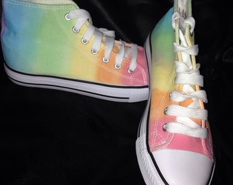 Rainbow Tie Dye canvas boots - womens canvas boots size 5 UK