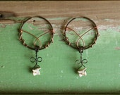Snapping Turtle Bone Hoop Earrings, Ethically Sourced, Iron & Copper Wire, Copper Hoops, Cruelty Free, Swamp Witch, Bayou Girl, Louisiana