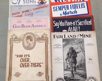 Sheet Music, Wartime Sheet Music, Military Sheet Music, Lot of 9, Vintage 1918-1945