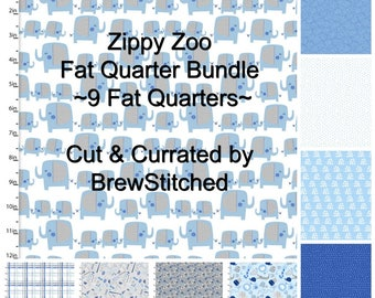 Fat Quarter Bundle - Zippy Zoo - 3 Wishes Fabric - Baby boy blue - Modern fabric - Includes 9 Fat Quarters - Fabric by the yard