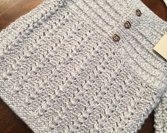 Devrim Baby Sweater with monkey buttons-Hand Knit