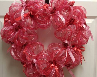 VALENTINE'S WREATH, Red, Pink, & White striped deco mesh, heart shaped, red and pink heart bows. Free shipping.