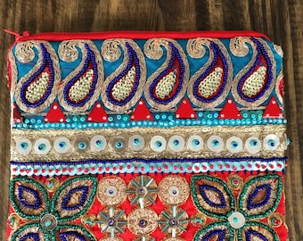 Embellished Blue and Gold Clutch. Beaded Bag.