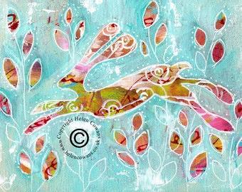 Bounding Hare #174 Original Painting