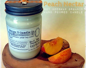 Peach Nectar soy beeswax candle, No.14 The Georgian - essential oils, all-natural organic candle, key charm, hand-poured home fragrance
