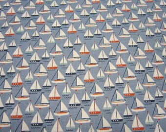 Riley Blake Sailboat Cotton Called By The Sea with Blue Background Designed by Dani Mogstad
