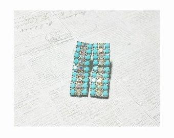 Turquoise Rhinestone Vintage Dangle Cluster Earrings