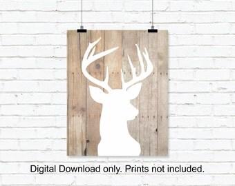 INSTANT DOWNLOAD Deer Head White Silhouette wall art, Deer Head Wooden boards, Deer Head Digital Print, Deer Head Printable wall art 8x10