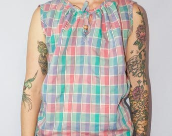 Our Way of California Vintage Sleeveless Blouse Size Large Pastel Plaid Womens