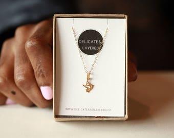 Dove Necklace, Tiny Dove Pendant, Bird Necklace Dove, Tiny Gold Charms, Necklace Bird Gold, Dove Jewelry, Bird Necklace, Dove Charm