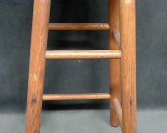 vintage bar stool rustic wood barn seat sturdy estate find wooden vtg stool